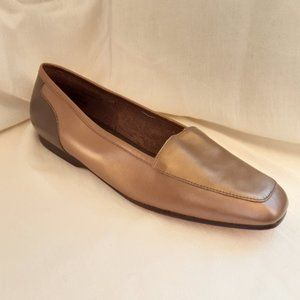 Enzo Angiolini Leather Bronze Metallic Loafer, 7.5